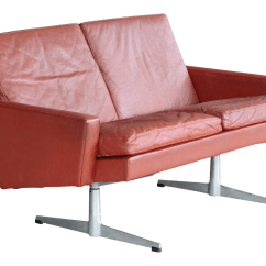 Red Leather Two Seater Sofa Sofas Under 200 Pounds Incredible Danish 1960s Seat Airport In Decaso For Sale