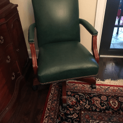 Ethan Allen Leather Chair Bedroom Fluffy The Lee Rolling Dark Green Desk Chairish For Sale Image