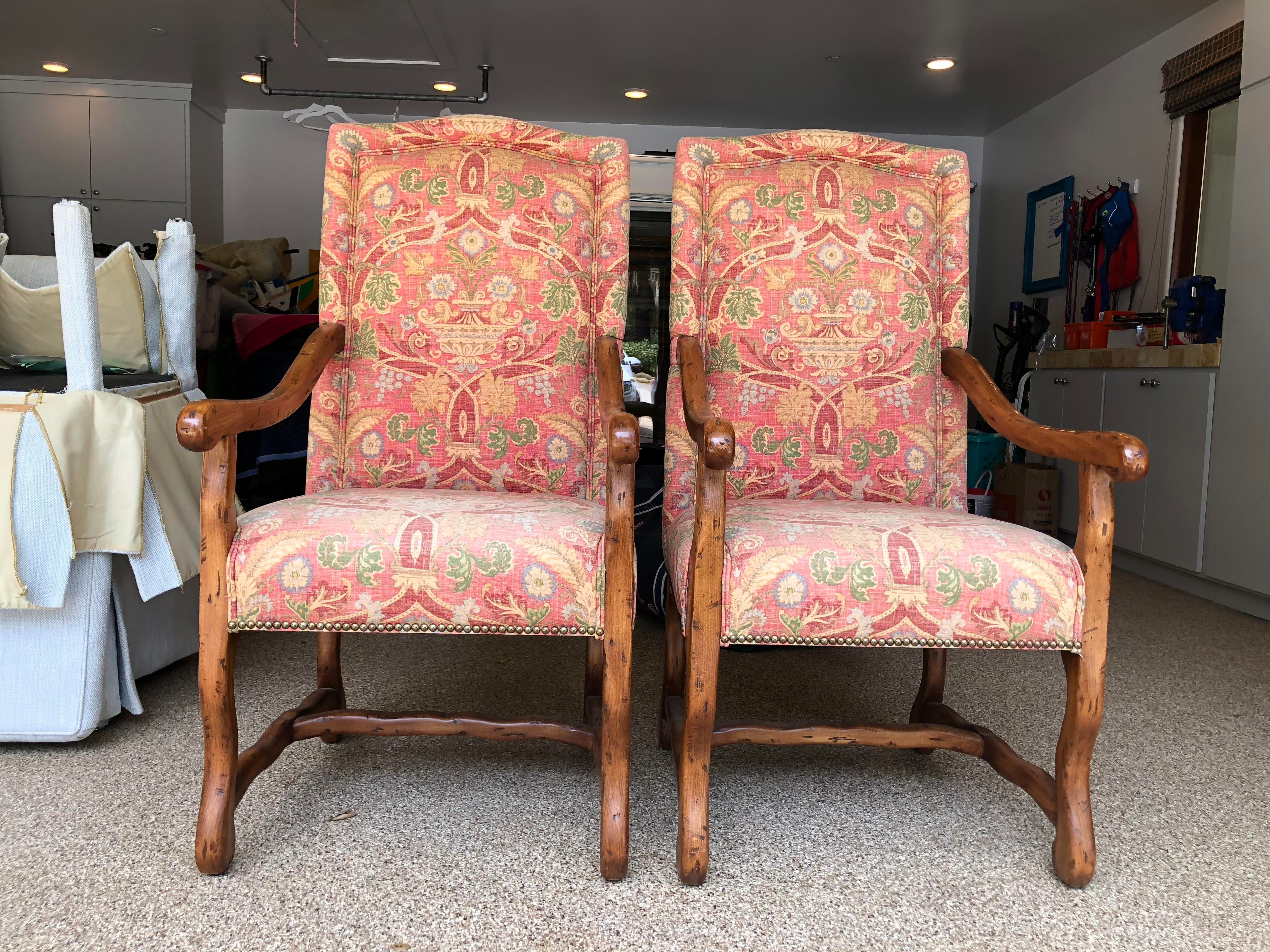 country french chairs upholstered director chair covers flat stick freemark designs provence style antique milano 2000s finish in custom thibaut
