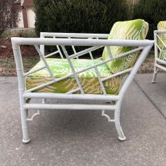 Bamboo Outdoor Chairs Evenflo Majestic High Chair Seat Cover Vintage Meadowcraft Faux Patio Set Chairish For Sale Image 4 Of 7