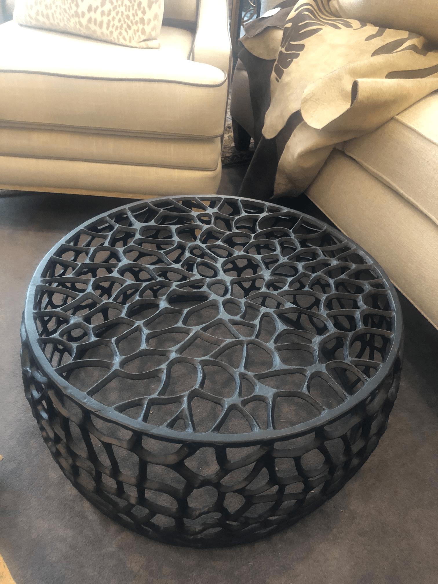 black metal round ottoman table