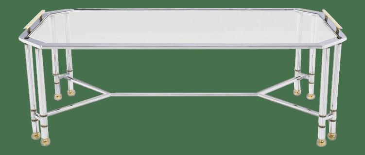 mid century modern chrome brass glass rectangular coffee table