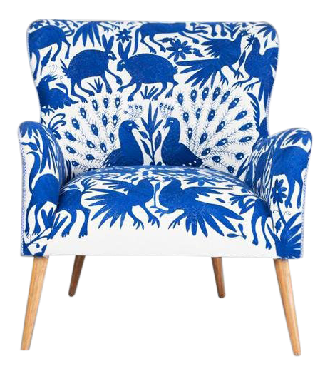 bergere chairs for sale revolving easy chair vintage used white chairish 1960s boho chic blue and embroidered lounge