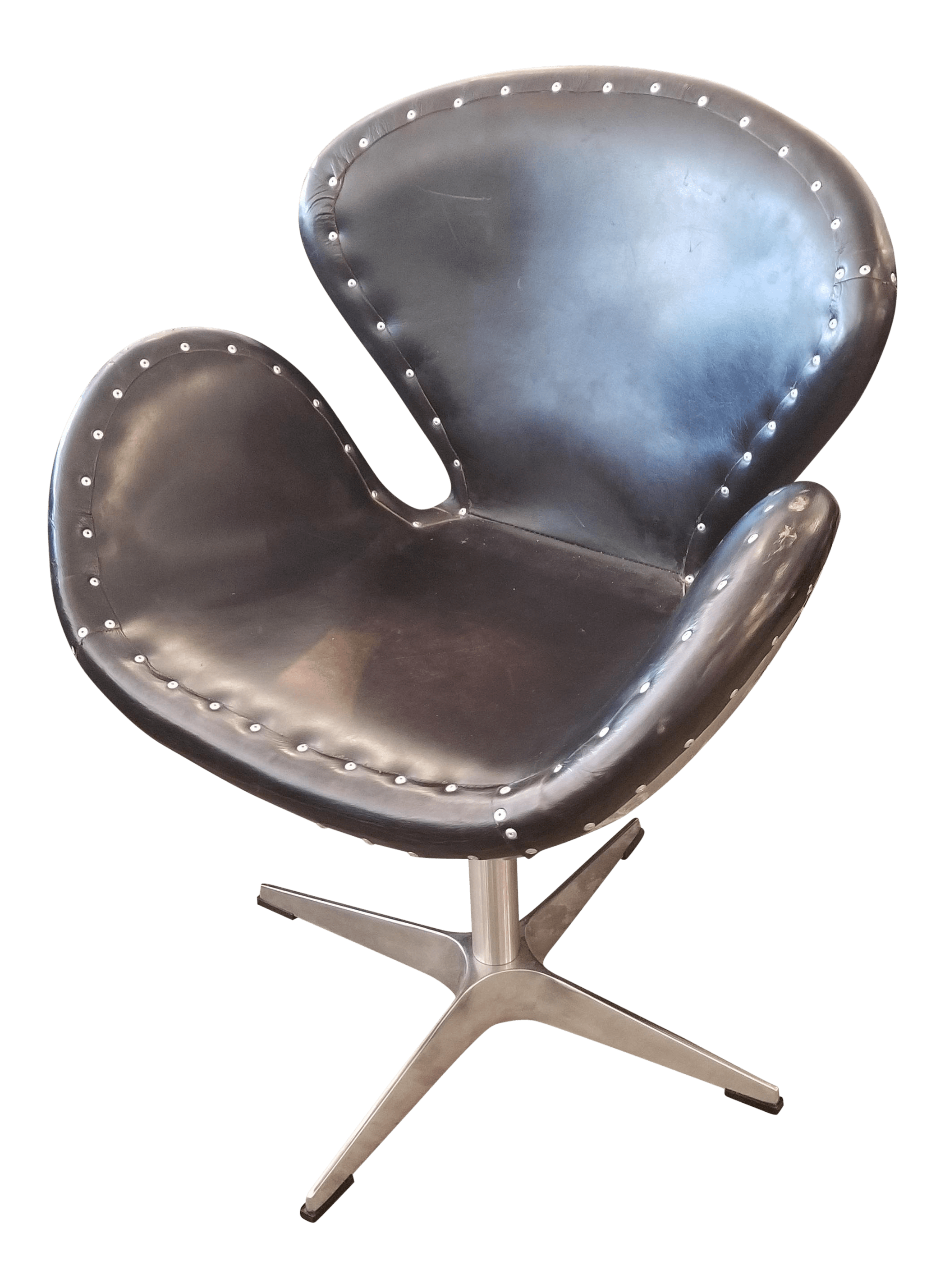 office chair on sale sciatica cushion for vintage used swivel chairs chairish restoration hardware metal black leather aviator