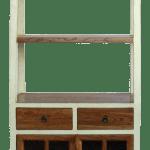Oriental Cream White Brown Glass Door China Bookcase Cabinet