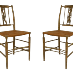 Grey Painted Chairs Cracker Barrel Fine American Country 1st Half 19th Cent Side A Pair For