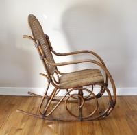 Mid-Century Vintage Cane & Rattan Bent Wood Rocking Chair ...