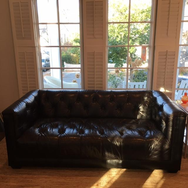 savoy leather sofa restoration hardware furniture set designs new chairish brand purchased for living room sale antiqued black contemporary