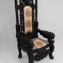 Black Gothic Throne Chair Patio Chairs Set Of 2 Intricately Carved Mahogany Lion Chairish For Sale Image 8 11