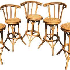 Bamboo Dining Chair Wassily Reproduction Vintage Used Chairs Chairish Mid Century And Cane Tiki Bar Stools 5 Pc Set