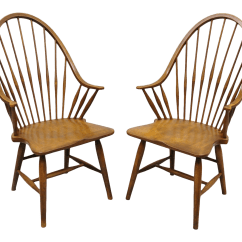 Antique Windsor Chairs Green Metal Bistro Vintage Used For Sale Chairish Maple Wood Fan Back Colonial Dining Arm Made In Slovenia A Pair