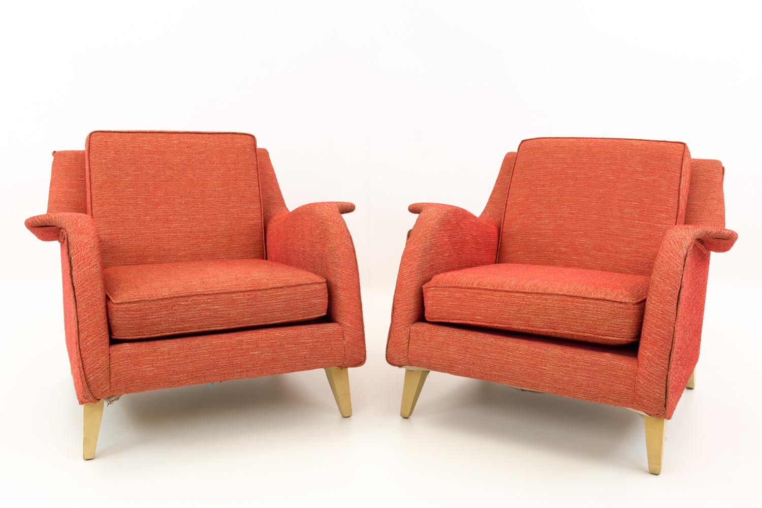 red lounge chair hydraulic stool vintage mid century modern chairs a pair chairish arms have great unique