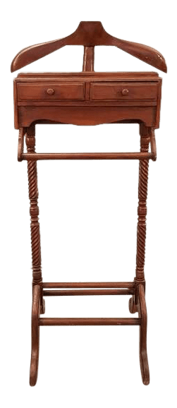 mens chair valet stand beadboard with rail vintage used stands chairs for sale chairish gentleman s wooden suit rack clothing hanger butler