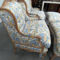 Country Style Wingback Chairs Minnie Mouse For Toddlers Late 20th Century Vintage French And Textile Ottomans 4 Pieces