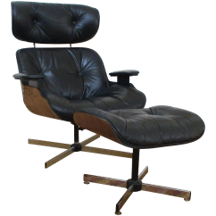 Black Chair And Ottoman Lc1 Sling Eames Era Plycraft Lounge Chairish For Sale