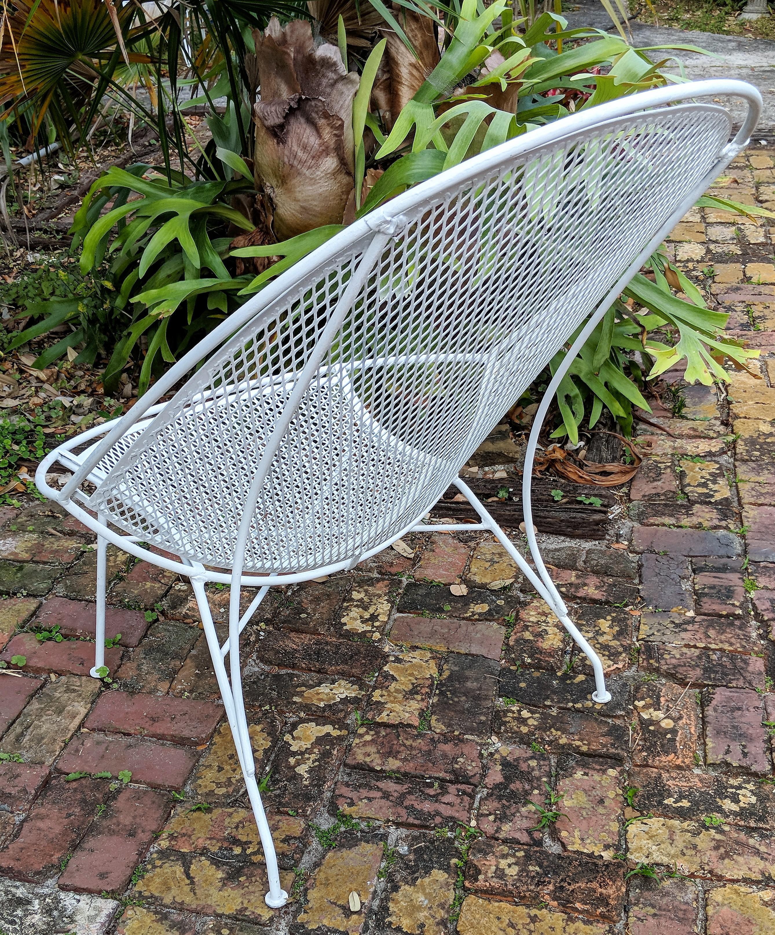 1960s mid century modern salterini radar white metal patio chair