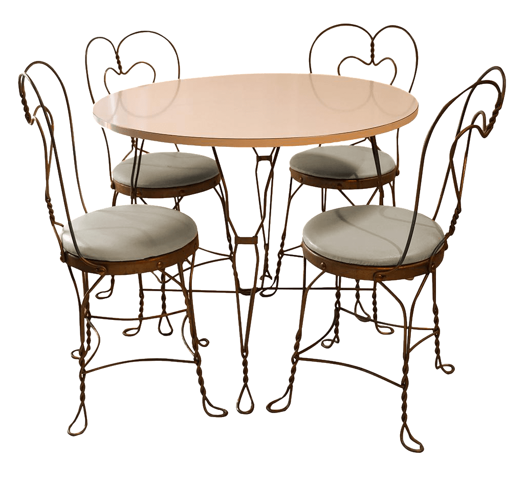ice cream table and chairs chair lifts for sale vintage wrought iron parlor set chairish