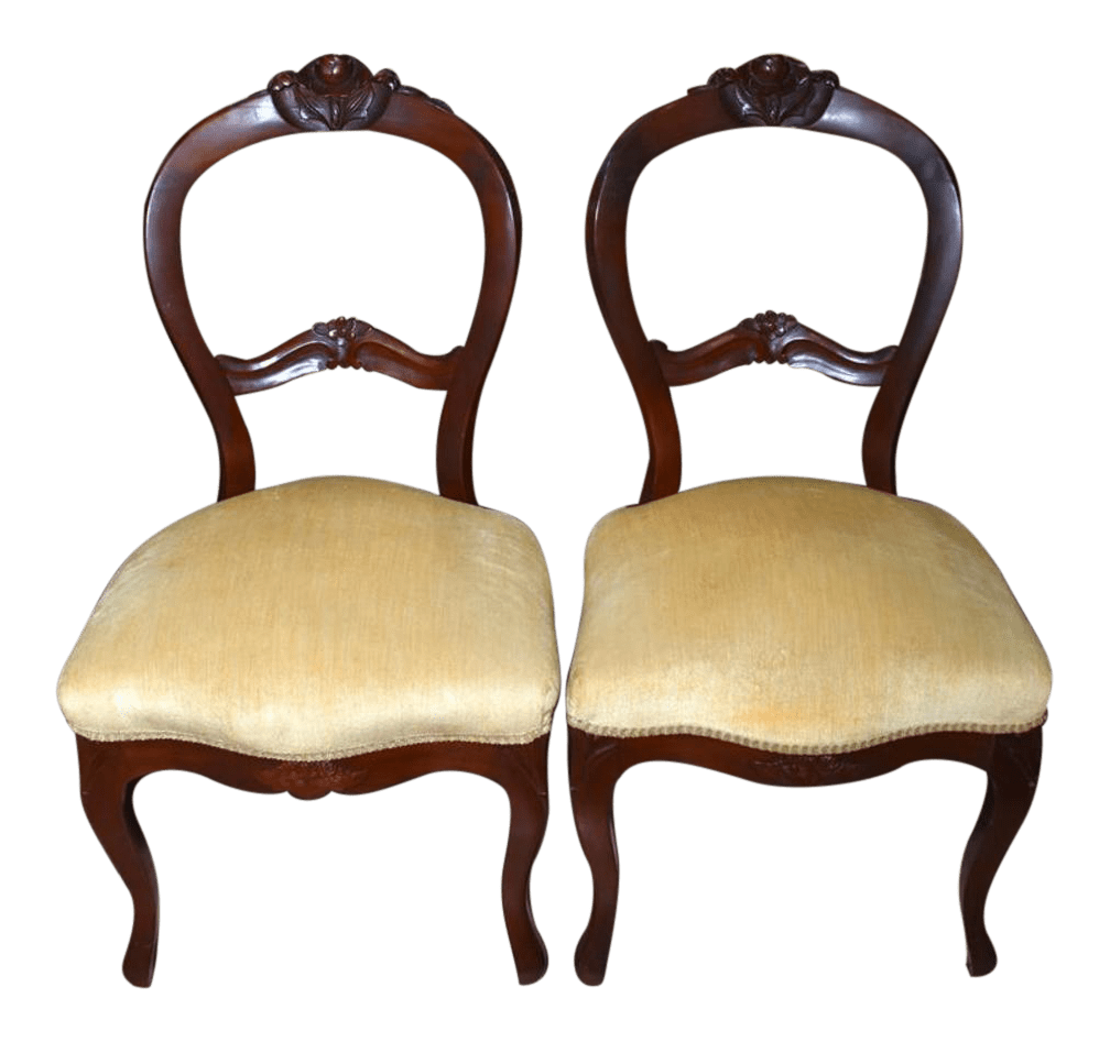 Antique Parlor Chairs Late 19th Century Antique Victorian Rose Balloon Back Carved Mahogany Parlor Chairs A Pair