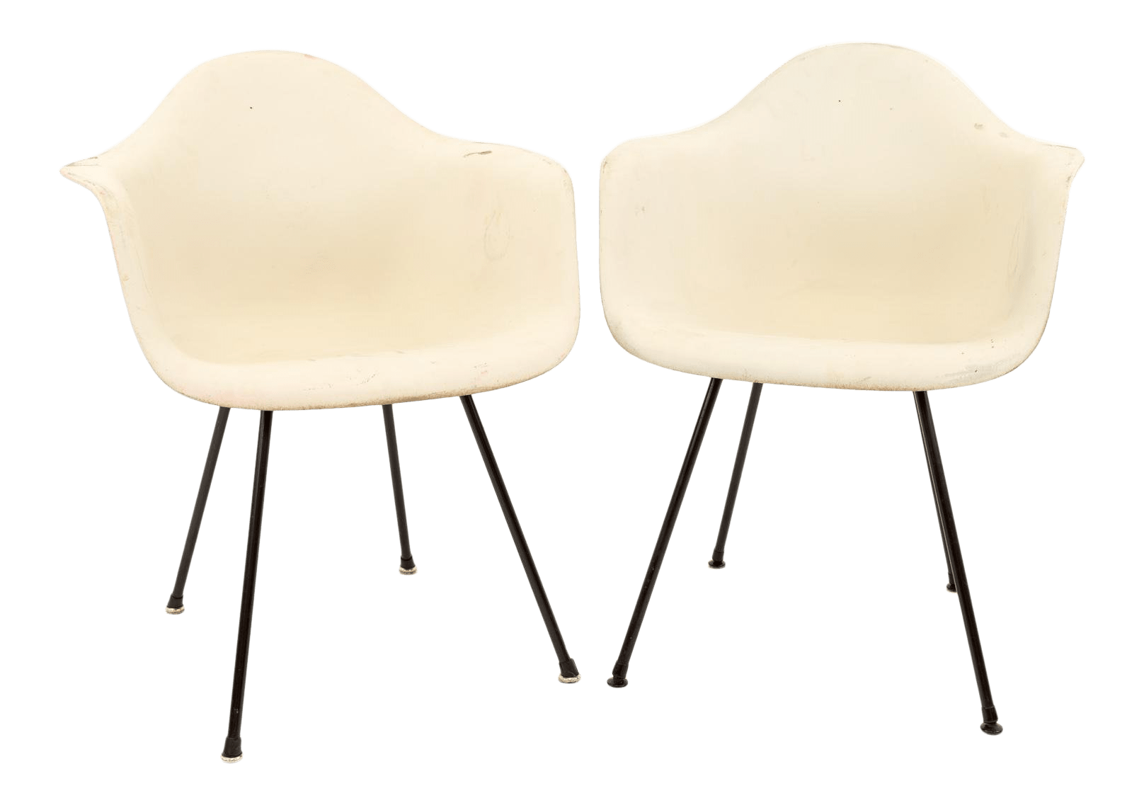 mid century modern plastic chairs evenflo high chair cover eames for herman miller molded x base shell a pair chairish