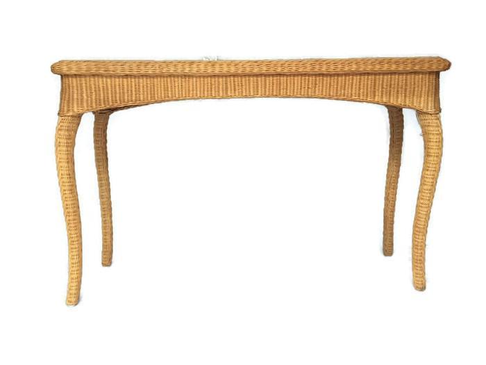 vintage wicker console table bohemian
