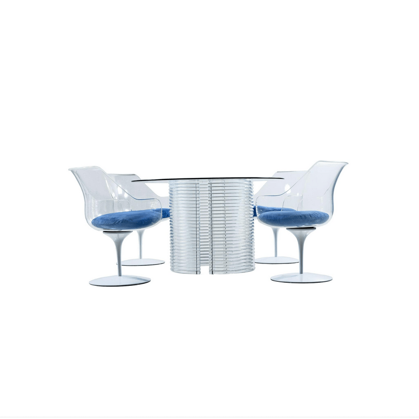 lucite acrylic chairs dining chair steel legs set table and champagne by erwin masterfully restored mid century modern let s start with the four