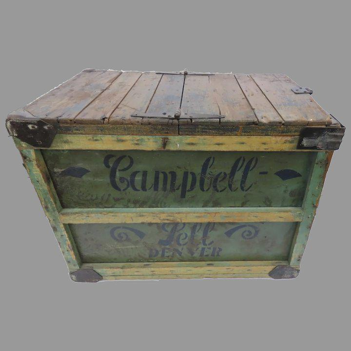 vintage painted stenciled campbell sell baking co denver crate box coffee table