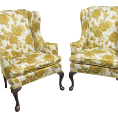 Hickory Chair Co Sure Fit Dining Covers Australia Queen Anne Style Wing Chairs A Pair Chairish