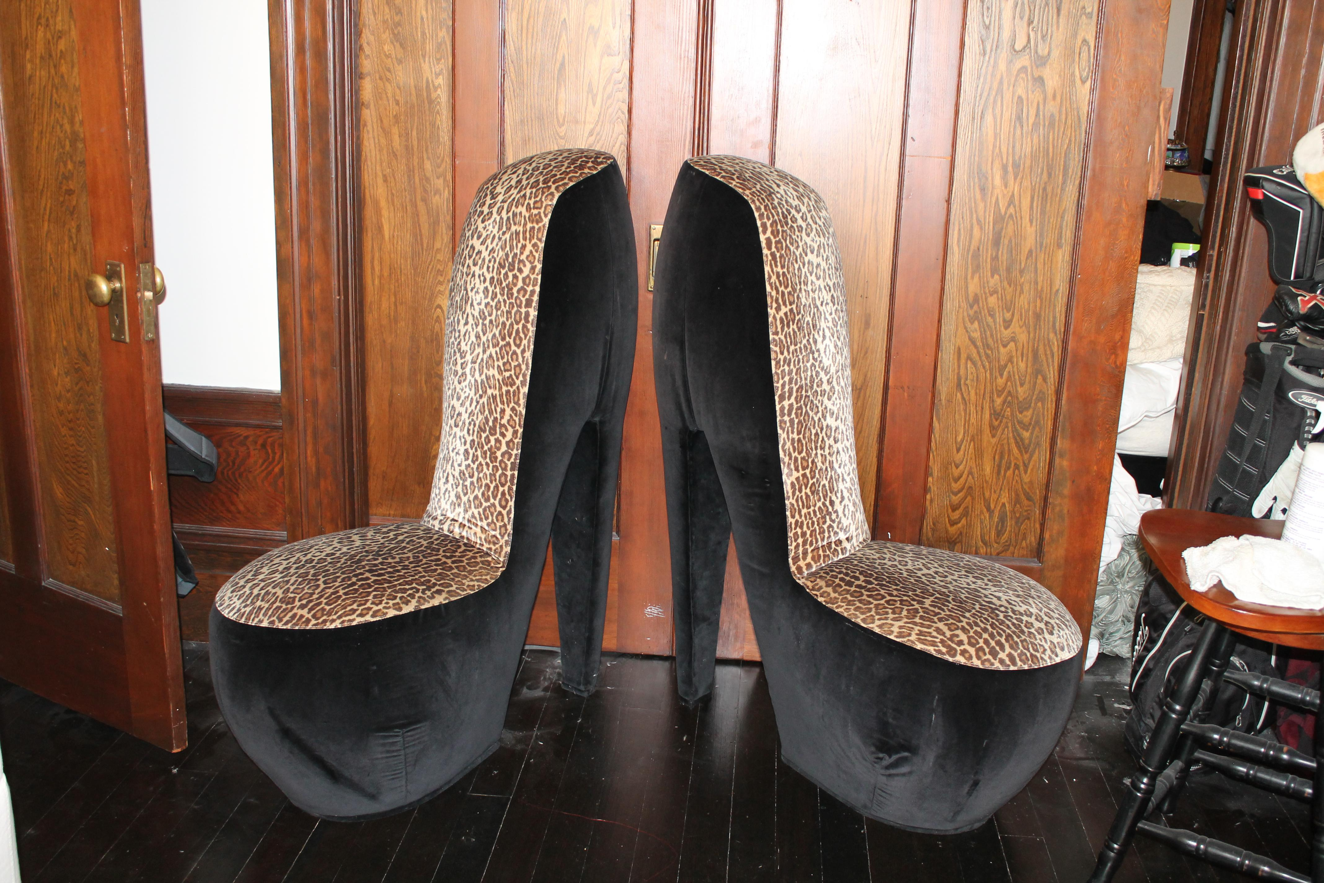 high heel shoe furniture chair jessie dining table and 4 white cross back chairs leopard print a pair chairish for sale image 3 of