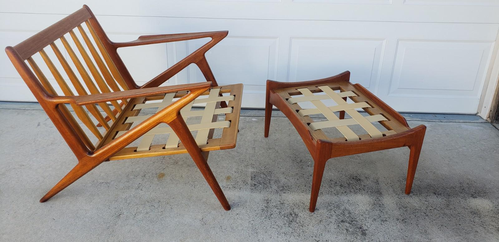 z chair mid century kitchen stuff plus dining modern teak and ottoman chairish 1960s for sale image 5