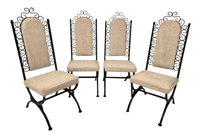 wrought iron dining chairs wheel chair on rent in pune vintage mid century virtue brothers of california set 4