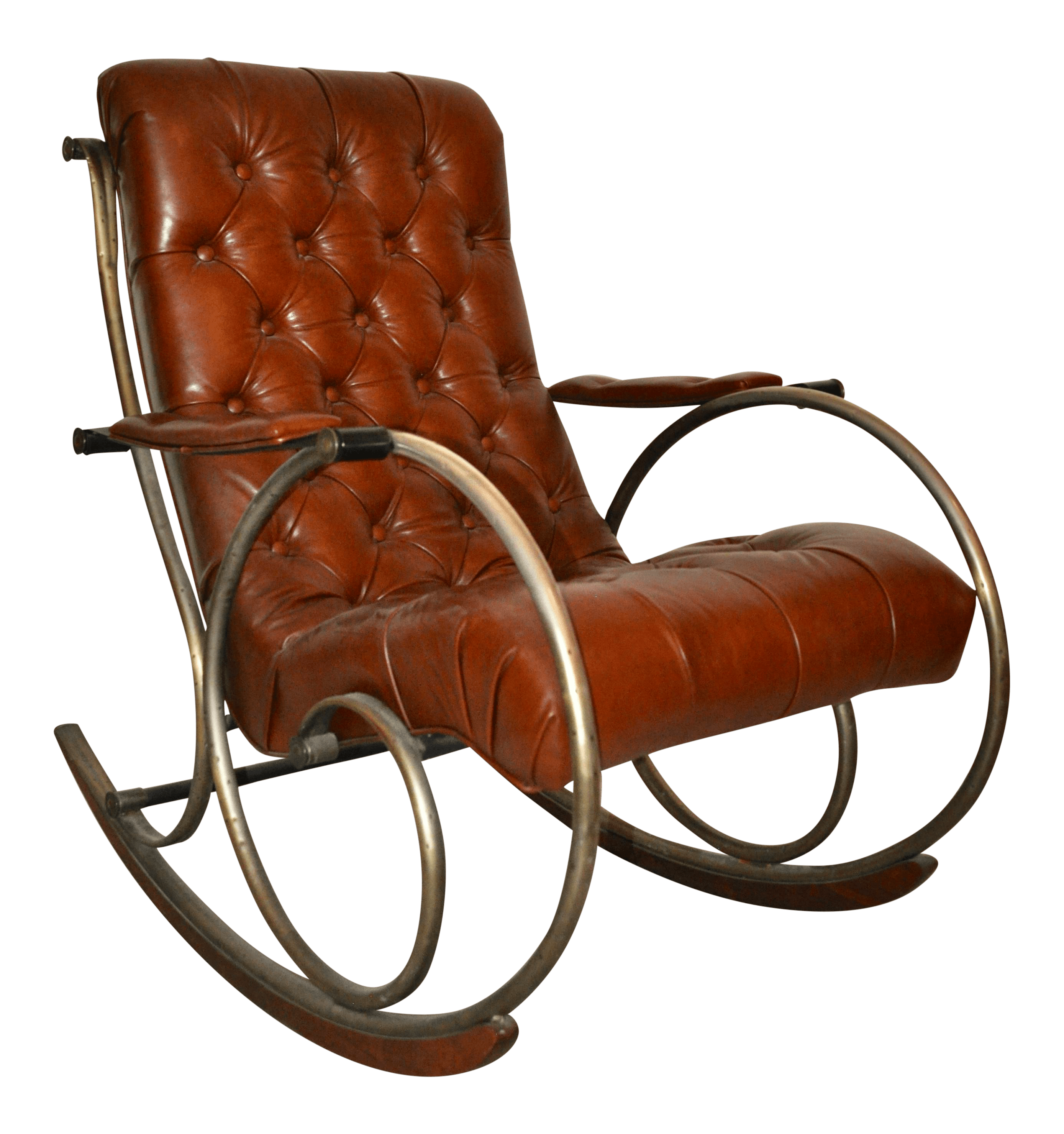 Leather Rocking Chair Antique Brass Steel Leather Rocking Chair