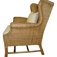 Wicker Wingback Chairs Chair Posture Neck Pain Contemporary Baker Chairish For Sale