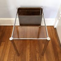 Mid-Century Chrome & Glass Magazine Rack End Table | Chairish