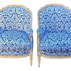 Blue Green Chair Patio Furniture Table And Chairs Vintage Used Accent For Sale Chairish Pair Of Antique French Louis Xv Style Bergere W White Damask
