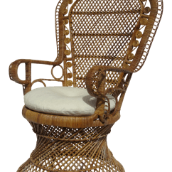 Wicker Wingback Chairs Wedding Chair Covers Hire Darlington Vintage Used Rattan Chairish C1970s Bohemian Eclectic Boho Chic Raw Peacock