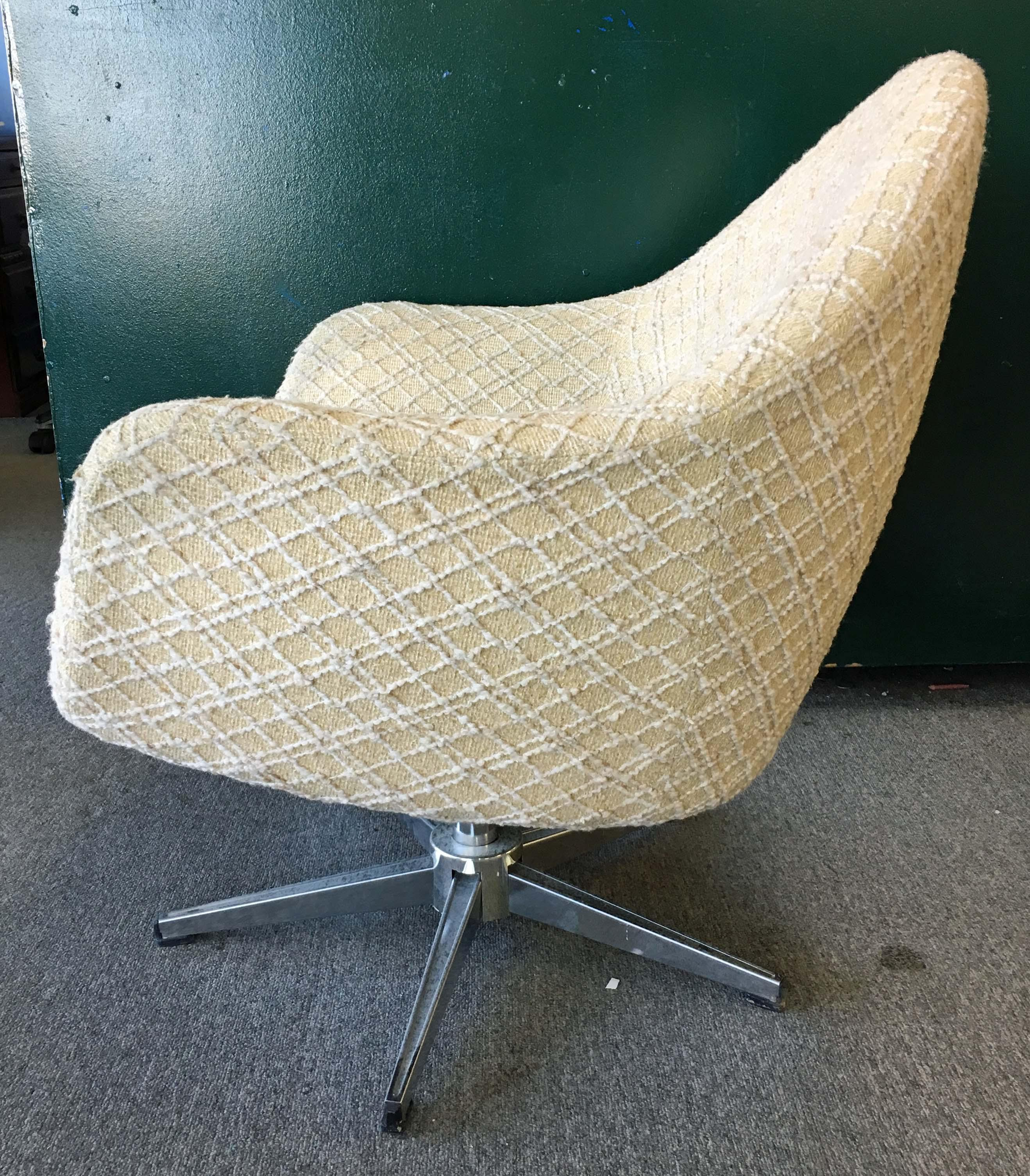 swivel pod chair farmhouse style chairs mid century danish modern overman chrome chairish offered is a the has