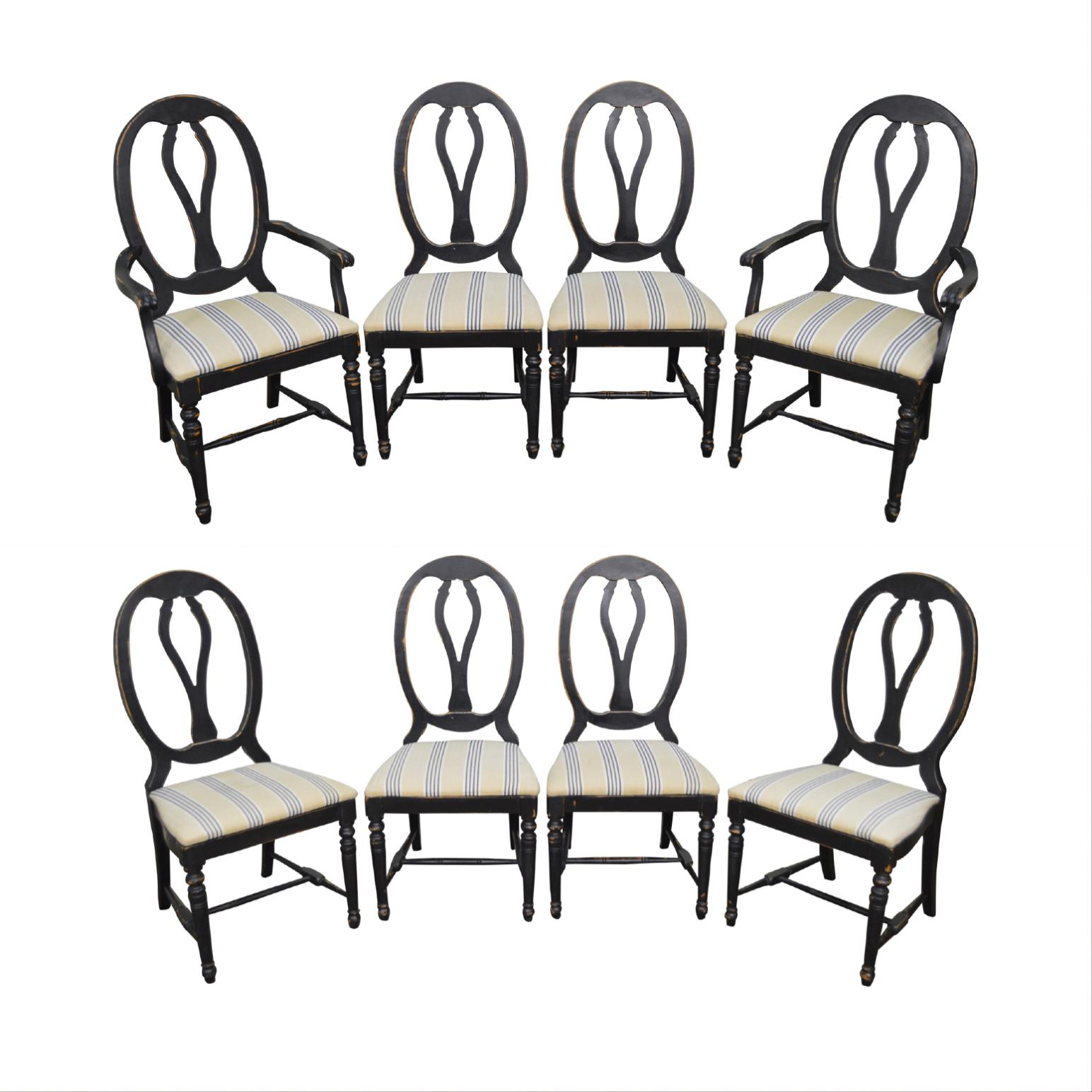 distressed black dining chairs wedding chair cover hire harrogate french country style set of 8 painted for sale image 11