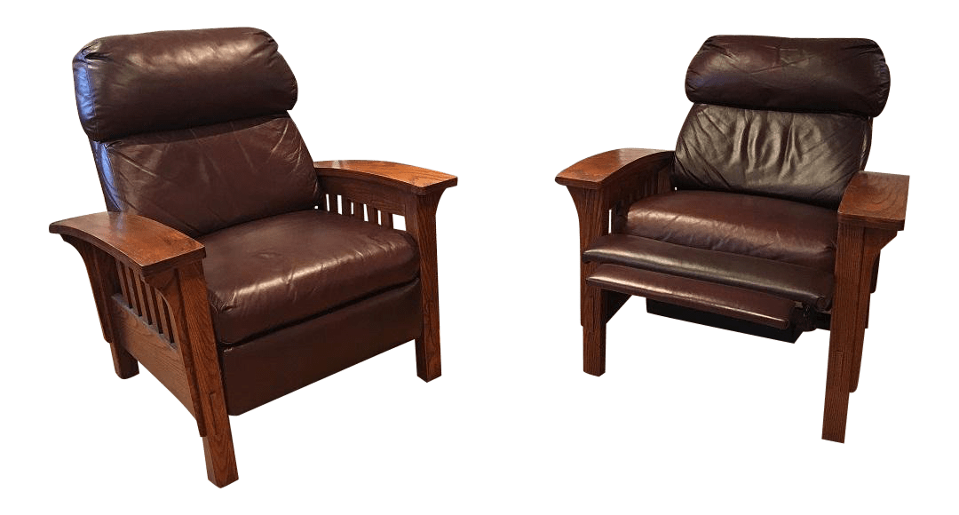 reclining chairs modern rustic rocking chair sam moore leather mission a pair chairish for sale