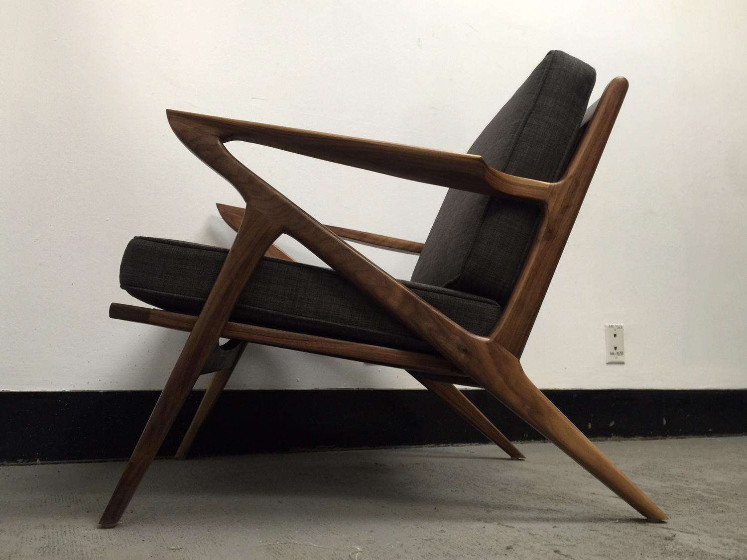 z chair mid century high wood walnut chairish for sale image