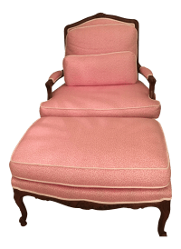 Queen Anne Pink Leopard Chair & Ottoman | Chairish