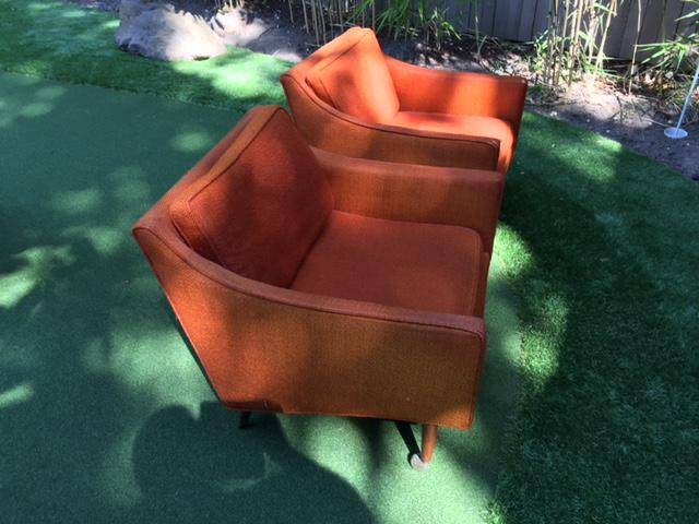 orange upholstered chair gliding rocking cover milo baughman forjames inc chairs a pair mid 20th century for sale