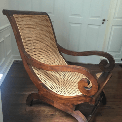British Colonial Chair Purple Desk Antique Hand Carved Cane Chairish 1940s For Sale Image 5 Of 9
