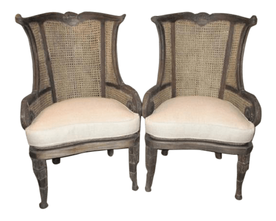 accent wingback chairs french cafe metal modern off white linen style cane and mahogany a pair