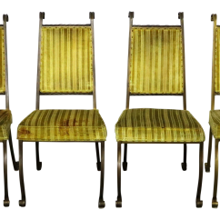 Wrought Iron Dining Chairs Low Seated Concert Hollywood Regency By Swirl Craft Of Sun Valley Set 4