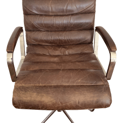 Distressed Leather Desk Chair Hickory Stool Modern Restoration Hardware Oviedo Chairish For Sale