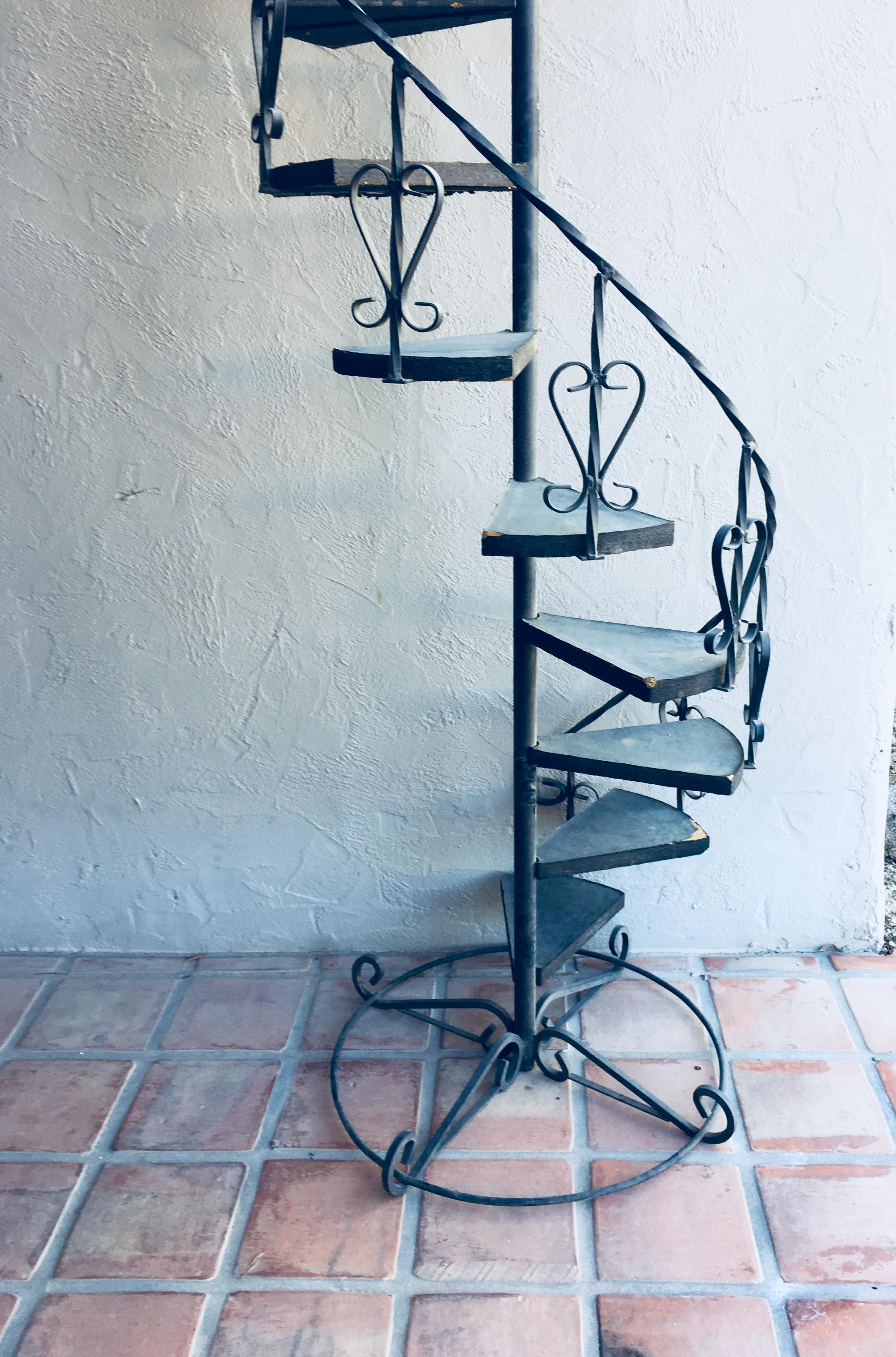 Vintage Wrought Iron Spiral Staircase Plant Stand Garden Art | Wrought Iron Spiral Staircase For Sale | Architectural Antiques | Stair Parts | Iron Balusters | Alibaba | Black Cast