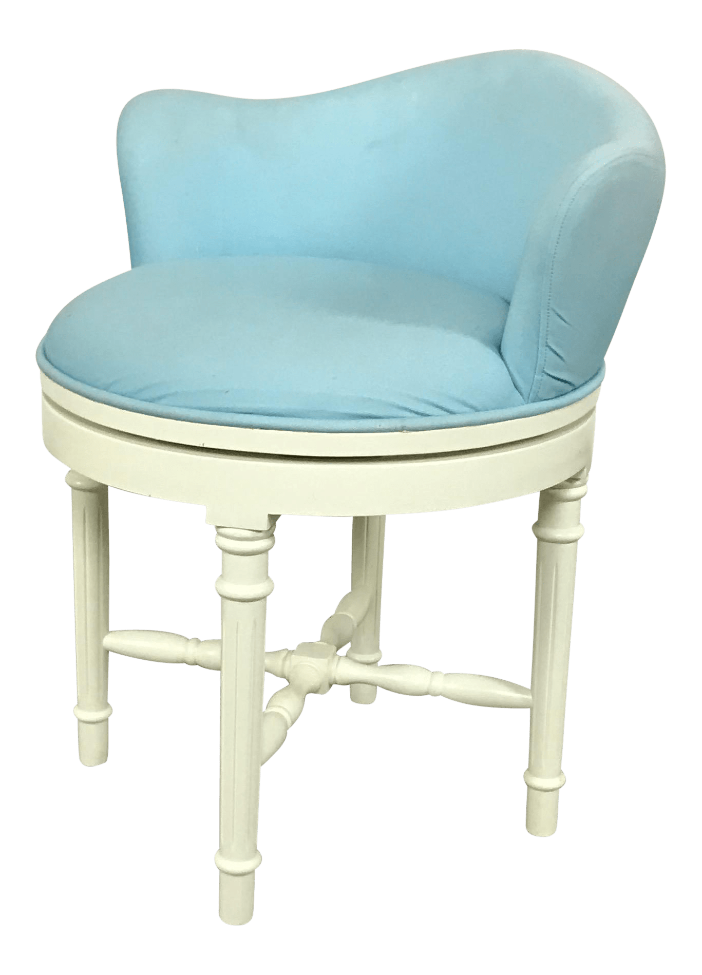 vanity chair pottery barn plastic chairs with steel legs sky blue stool chairish for sale