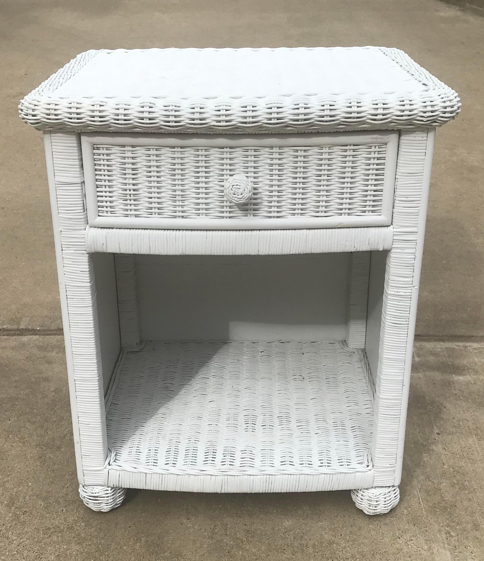 vintage white wicker night stand