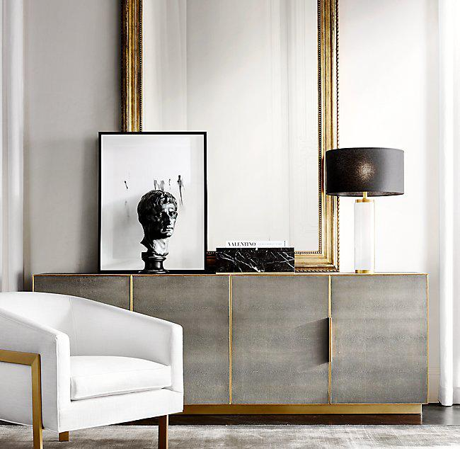 Restoration Hardware Cream  Brass Reginald Chair  Chairish