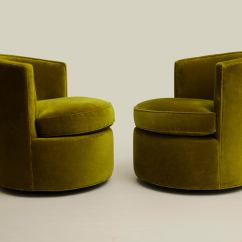 Green Velvet Swivel Chair Glider Repair Parts 1980s Contemporary Forest Barrel Chairs A Pair For Sale Image